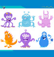 cartoon fantasy monster characters set vector image vector image