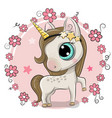 cartoon unicorn on a flowers background vector image vector image