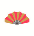 chinese folding fan with red and gold color vector image