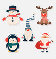 christmas cute characters and animals vector image