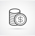 coins stack flat line black trendy icon eps10 vector image