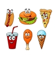 Colorful cartoon set of fast food icons vector image