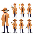 detective in hat and coat set vector image vector image