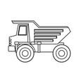 dump truck flat icon monochrome silhouette vector image vector image