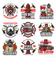 firefighting icons fire department retro badges vector image vector image