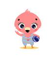 flat cute cartoon summer tropical flamingo vector image