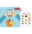 flat food online order concept vector image vector image