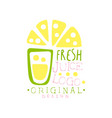 fresh juice logo original design lemon drinks vector image vector image