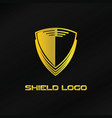 gold shield logo template vector image vector image