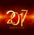 golden 2017 greeting card design on red background vector image vector image