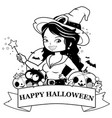 halloween witch pumpkins and treats vector image