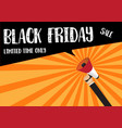 hand holding megaphone to speech - black friday vector image vector image