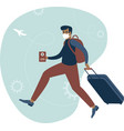 happy man traveller with immunity passport vector image vector image