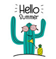 hello summer concept with fun cactus and pineapple vector image