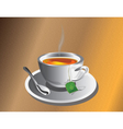 Hot Tea cup with silver spoon vector image