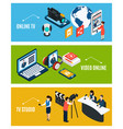 isometric video banners set vector image vector image