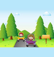 kids driving car in the park vector image vector image