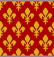 knitted golden royal lilies on red vector image