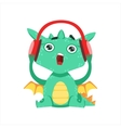 Little Anime Style Baby Dragon Listening To Music vector image vector image