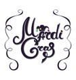 mardi gras hand lettering jester hat decor for vector image vector image