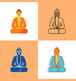 meditating buddha icon set in flat and line styles vector image vector image