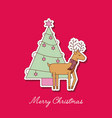 merry christmas reindeer with scarf and tree pine vector image vector image