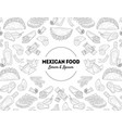 mexican food banner template with hand drawn vector image