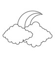 moon and cloud icon outline style vector image