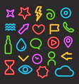 neon light color elements set vector image