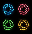 neon light color recycle symbol sign set on black vector image