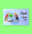 people plant tree landing page men and women vector image vector image