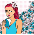red hair girl with cup of drink vector image