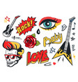 rock and roll stickers collection colorful poster vector image