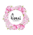 Round frame with peonies vector image vector image