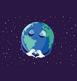 sad earth making a heart sign gesture vector image