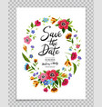 save the date card with flower wreath calligraphy vector image