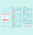 seafood menu and a banner for the restaurant vector image vector image
