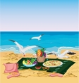 Seagulls are trying to steal food left on the vector image vector image