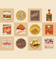set alcohol labels vintage american badge vector image