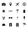 set black travel icons vector image