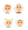 set sad emoticons face of people fear shock vector image
