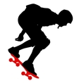 Silhouettes a skateboarder performs jumping vector image vector image