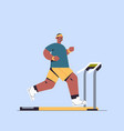 sportsman running on treadmill man having workout vector image vector image