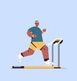 sportsman running on treadmill man having workout vector image