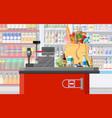 Supermarket store interior with goods