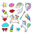 unicorns icon set vector image vector image