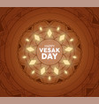 vesak day card traditional mandala and lights vector image