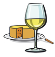 white wine and cheese vector image vector image