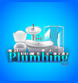 Word plumbing and objects on blue background vector image