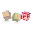 Word VIP written with alphabet blocks vector image vector image